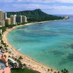 view of hawaiian beach and city