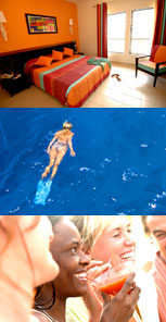 Resort room, woman snorkeling, and ladies drinking